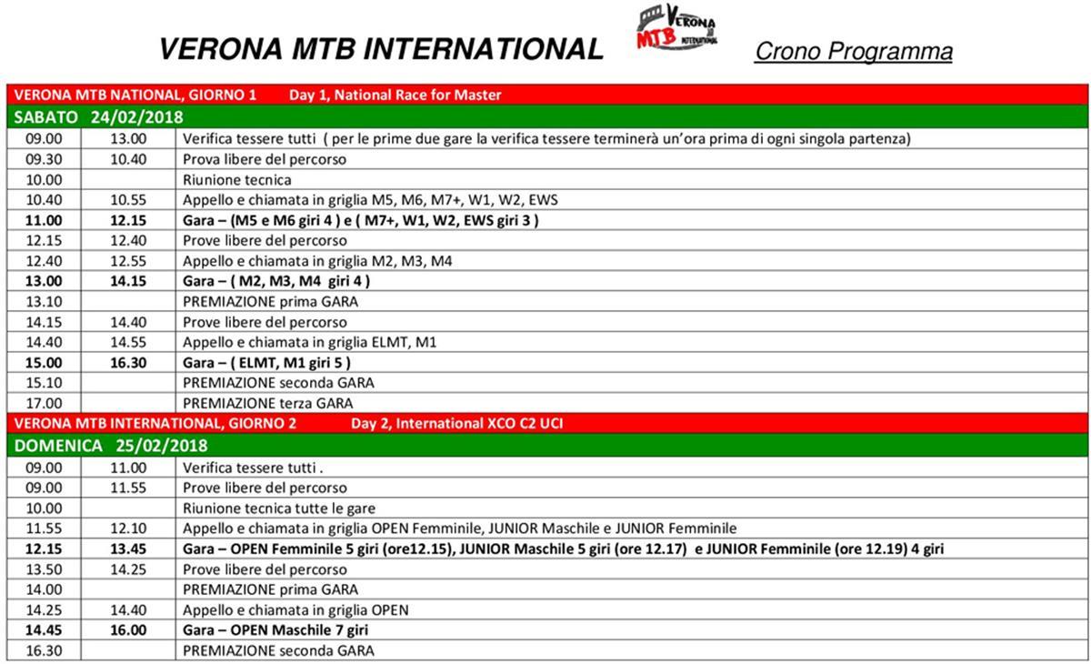 Verona MTB Programma15febbraio
